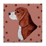 Beagle with pawprints Tile Coaster