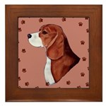 Beagle with pawprints Framed Tile
