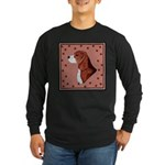 Beagle with pawprints Long Sleeve Dark T-Shirt