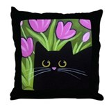 Black CAT and Pink Tulips ART Pillow