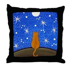 Orange Tabby CAT Starry Night ART Pillow