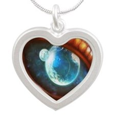 dragon eye Silver Heart Necklace
