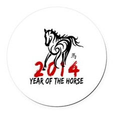 Year of The Horse 2014 Round Car Magnet