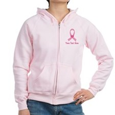 Breast Cancer Personalized Ribbon Zip Hoodie