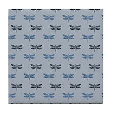 Blue Dragonflies Tile Coaster