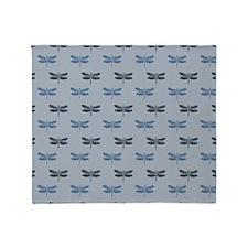 Blue Dragonflies Throw Blanket