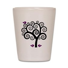 Black & Purple Swirl Tree Shot Glass