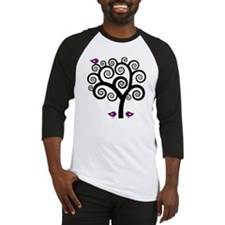 Black & Purple Swirl Tree Baseball Jersey