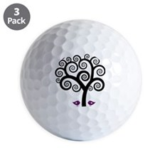 Black & Purple Swirl Tree Golf Ball