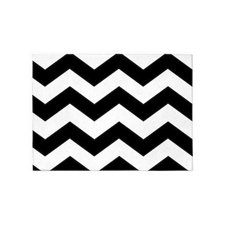 black and white chevron 5x7 area rug by iretro. Black Bedroom Furniture Sets. Home Design Ideas
