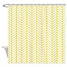 Yellow Herringbone Shower Curtain