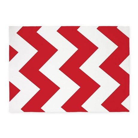 Gifts gt Chevron Bedroom Dcor Red And White Chevron 5X7 Area Rug