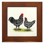 Java Rooster and Hen Framed Tile