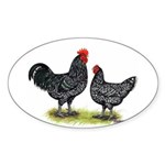 Java Rooster and Hen Oval Sticker
