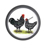 Java Rooster and Hen Wall Clock