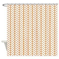 Orange Herringbone Shower Curtain