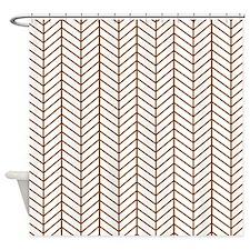 Brown Herringbone Shower Curtain