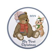 "Bear and Bunny 1st Christmas 3.5"" Button"