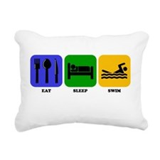 Eat Sleep Swim Rectangular Canvas Pillow