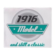 1916 Birthday Vintage Chrome Throw Blanket