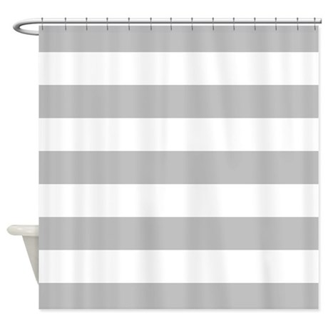 Boho Boutique Shower Curtain Gray and White Horizontal Stri