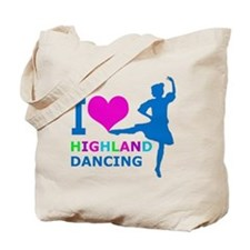 I LOVE highland dancing pink blue green p Tote Bag
