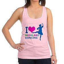 I LOVE highland dancing pink bl Racerback Tank Top