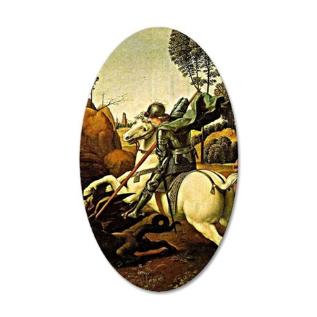 Saint George and the Dragon, 35x21 Oval Wall Decal