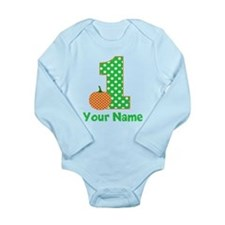 1st Birthday Pumpkin Green Body Suit