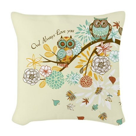 Autumn Owl Woven Throw Pillow by gatterwe