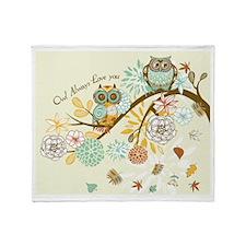 Autumn Owl Throw Blanket