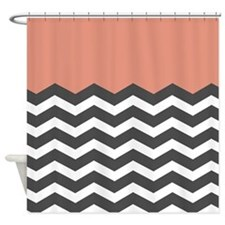 Coral Black White Chevron Shower Curtain