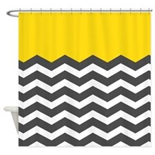 Yellow Black White Chevron Shower Curtain