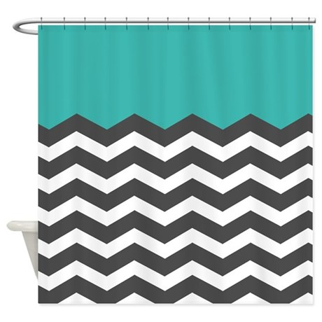 Turquoise Black White Chevron Shower Curtain By InspirationzStore