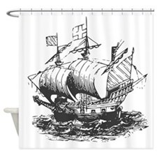 Vintage ship Shower Curtain