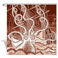 Brown Octopus Attack Shower Curtain