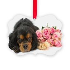 Black Cavalier King Charles With Roses Ornament