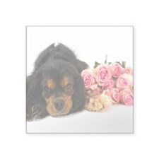 Black Cavalier King Charles With Roses Sticker