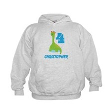 Personalized 4th Birthday Dinosaur Boys Hoodie