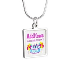 16TH BIRTHDAY Silver Square Necklace
