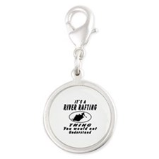 River Rafting Thing Designs Silver Round Charm