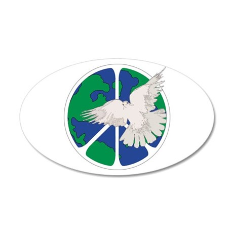 Peace Sign & Dove 35x21 Oval Wall Decal