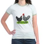 Marans Rooster and Hen Jr. Ringer T-Shirt