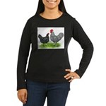 Marans Rooster and Hen Women's Long Sleeve Dark T-