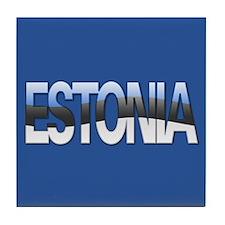 """Estonia Bubble Letters"" Tile Coaster"