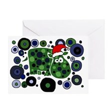 Christmas Hippo Abstract Art Greeting Card