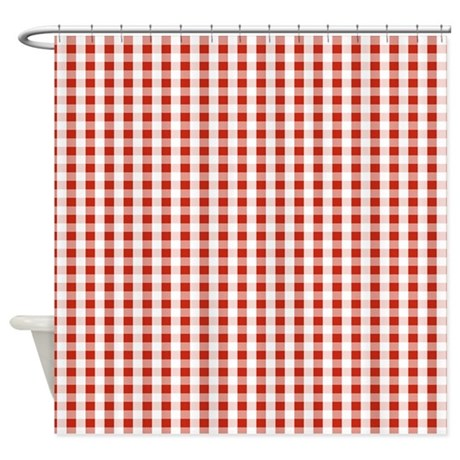 small red gingham shower curtain by jqdesigns