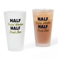 Half Social Worker Half Rock Star Drinking Glass