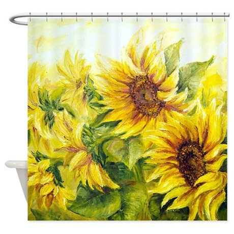 sunflowers oil painting shower curtain by bestshowercurtains. Black Bedroom Furniture Sets. Home Design Ideas
