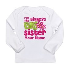 Biggest Big Sister Pink Green Long Sleeve T-Shirt